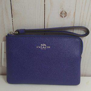 Coach Zip small Leather SV Purple Wristlet nwt